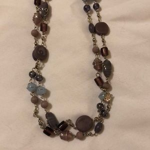 """24"""" lilac/pink/light blue beaded silver necklace"""